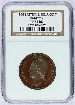1866 Liberia 1 One Cent Proof Copper Pattern Coin - NGC PF 65 BN - KM# Pn12