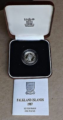1987 Falkland Islands ~ One Pound £1 .925 Proof Silver Coin
