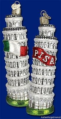 Leaning Tower Of Pisa Old World Christmas Glass Italy Italian Ornament Nwt 20055