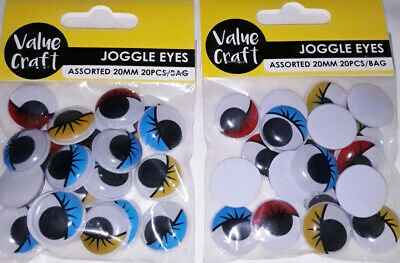 40 Assorted Coloured Joggle/Wiggly/Wiggle Eyes with Lashes ~ 20mm