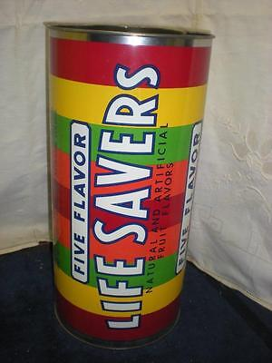 "Vintage Life Savers Advertising Tin Trash Can 16"" tall"