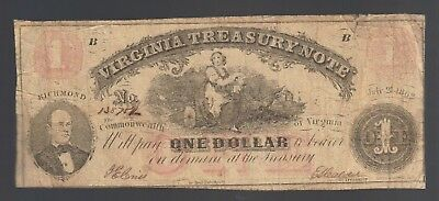 $1 Virginia Treasury 1862 CSA Note Old Obsolete Paper ONE Dollar Money Bill Ace