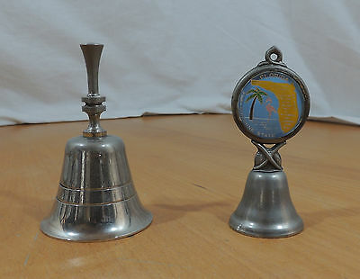 Lot of 2 Silverplate Hand Bells 1 Florida State Bell