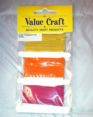 3mm Leather Suede Thonging Lacing Hot Pink/Yellow/Orange -2m of each colour