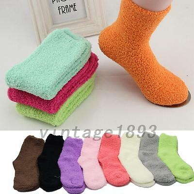 Fluffy Thick Coral Fleece Warm Girl Winter Floor Bed Ankle Socks Keep Warm Soft