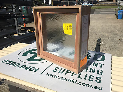 NEW Timber Meranti Awning Window 597h x 610w Obscure Toughened Bathroom