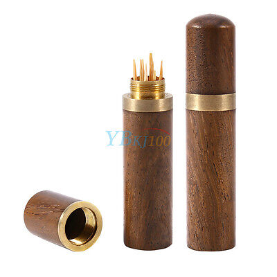 Portable Ebony Wood Wooden Toothpick Holder Box Capsule Crafts fr Hotel Home mal