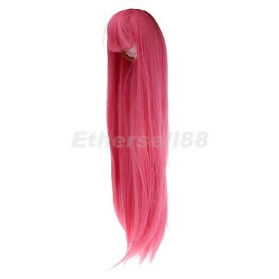 40cm Pink Straight Hair Wig Hairpiece for 60cm 1/3 MSD DZ DOD LUTS BJD Dolls