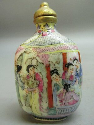 Chinese Ancient Belle Hand Painted Porcelain Snuff Bottle
