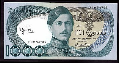 Portugal. 1,000 Escudos, FRR 84707, 3-12-1981, better than Good Very Fine.