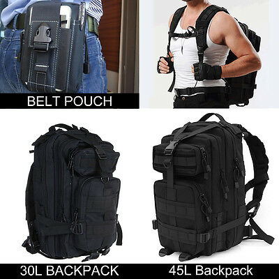 30L 45L Molle Military Tactical Backpack Rucksack Belt Pouch Trekking Army Bag