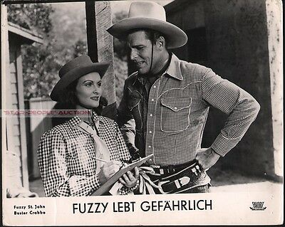 Buster Crabbe - Evelyn Finley - Prairie Rustlers 1945 Western * Rare Lobby Card!