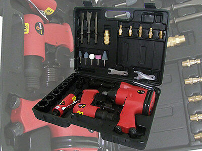 SALE Am-Tech 33pc Pro Air Tool Kit - Air Hammer Impact Wrench Ratchet Grinder