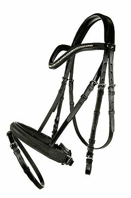 CLEARANCE | HKM Glamour Leather Padded Bridle & Reins Diamante Browband RRP £88!