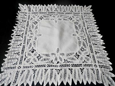 "Small Vintage Tape Lace Table Cloth  22"" By 22"""