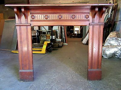 ~ Ornate  Antique Cherrywood  Fireplace Mantel ~ 56 X 46 ~ Architectural Salvage