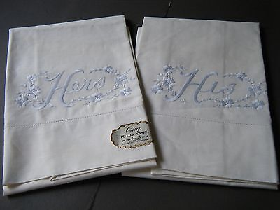 "Vintage set 2 Pillow cases embroidered design Hers His Cotton 33"" by 20"""