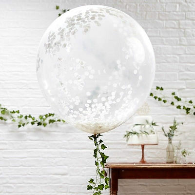 """Large white confetti balloons x 3  36 """" wedding christening party decorations"""