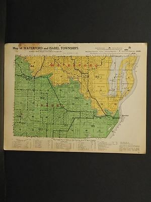 Illinois Fulton County Map Waterford Isabel Township  1916 W7#22
