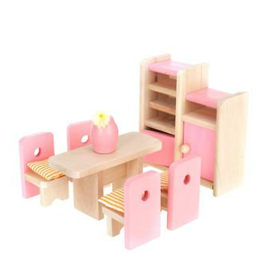 Dollhouse Miniatures Furniture Wooden Dining Room Set Kids Pretend Play Toy