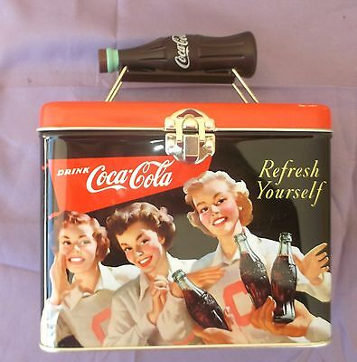 """Coca-Cola Lunch Box Tin """"Refresh Yourself"""" w/Bottle Handle"""