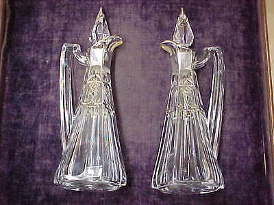 Beautiful Antique Matching Pair Silver Overlay Crystal Cruets