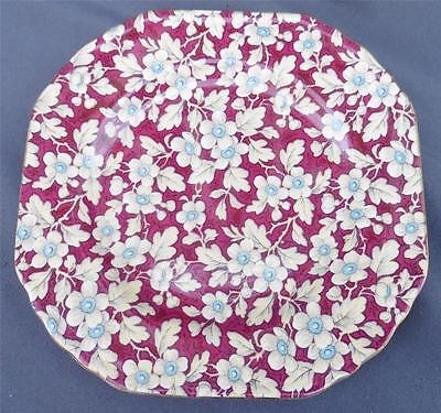 """Vintage BCM Lord Nelson Ware England Chintz 6.5"""" Square Bread & Butter Plate"""