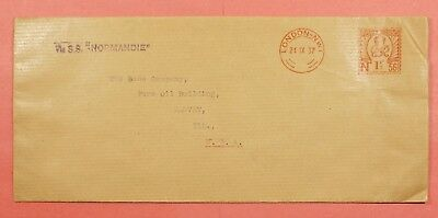 1937 Great Britain Meter Cover Per Ship Ss Normandie To Usa