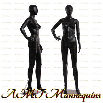 Female display mannequin full body+metal stand, black dress form manikin-FC-11B