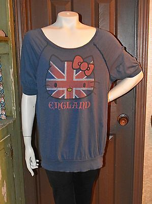 Hello Kitty Union Jack Vintage Style Distressed T-Shirt! Over-Sized!  Med