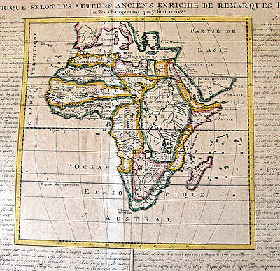 1715 antique AFRICA MAP hand color + descriptive historical text in French BIG