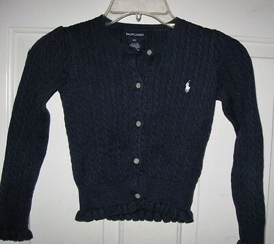 Ralph Lauren Polo navy cardigan sweater 6/6X years girls cable knit uniform blue