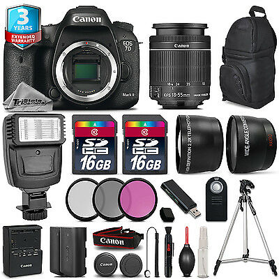 Canon EOS 7D Mark II Camera + 18-55mm + Flash + 32GB + EXT BATT + 3yr Warranty
