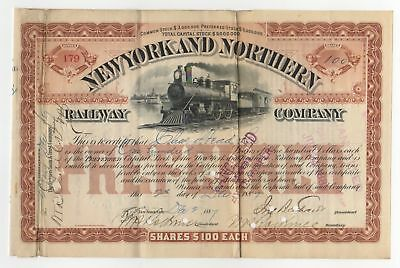 1887 New York and Northern Railway Company Stock Certificate