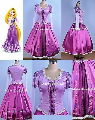 Disney Rapunzel Tangled Principessa Costume Vestito Carnevale Cosplay Donna New