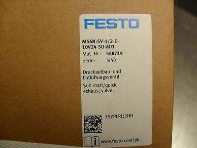 Festo MS6N-SV-1/2-E-10V24-SO-AD1 Soft start/quick exhaust valve Factory Sealed