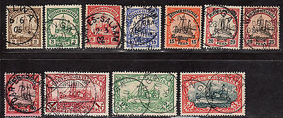 $German Colonies/East Africa Sc#11-21 used, VF+, sm. thin on 19, Cv. $495.35