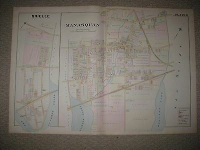 Masterpiece Antique 1889 Brielle Manasquan Jersey Handcolored Map Rare Superb Nr