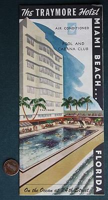1950-60s Era Miami Beach,Florida Traymore Hotel Pool & Cabana Club brochure-NICE