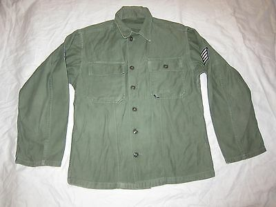 Vintage 1955 Vietnam US Army OG107 Mans Cotton Sateen Utility Shirt Small Solid