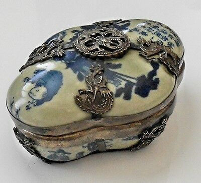 "Qing Dynasty Chinese (""Ming"" Style) Porcelain Box with Erotic Depiction Inside"