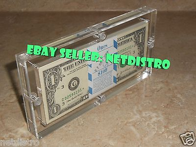 Acrylic BEP 100 Pack Money Currency Holder Dollar Bank Frame Note Display Case