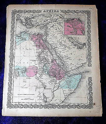 MAP North East AFRICA large decorative antique Colton 1855 Egypt Nile color