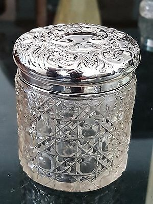 Antique Sterling Silver Folate Cut Glass Trinket Vanity Jar Chester 1906