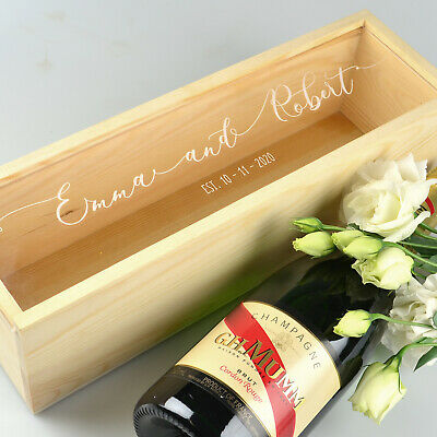 Custom Engraved Natural Wooden WIne & Champagne Box with Engraved Acrylic Lid