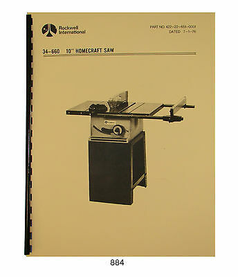 """Rockwell 10"""" Homecraft Table Saw 34-660 & 34-659 Operator & Parts Manual #884"""