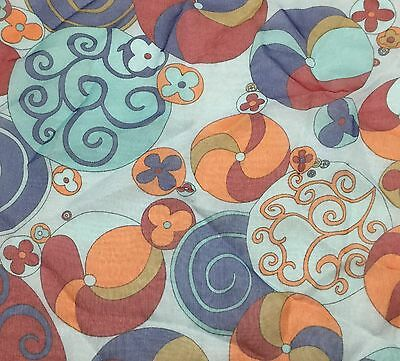"""Silk CHIFFON Fabric Blue with Daisies 10/""""x15/"""" remnant"""