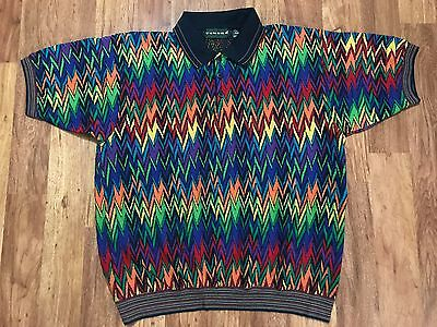 Mens Vtg 90s Tundra Canada Mercerized Cotton Rainbow Multicolored Polo Shirt XL