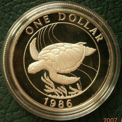 Bermuda 1986 Green Sea Turtle Dollar Silver Coin,Proof