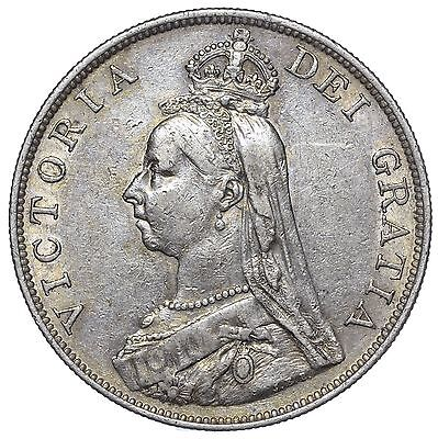 1888 Double Florin (Inverted 1) - Victoria British Silver Coin  - Nice